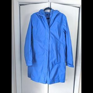 LL Bean Large Blue Long Winter Coat Rain Lined